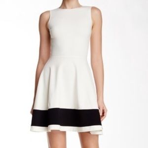 Love...ady fit and flare white and black dress Xs